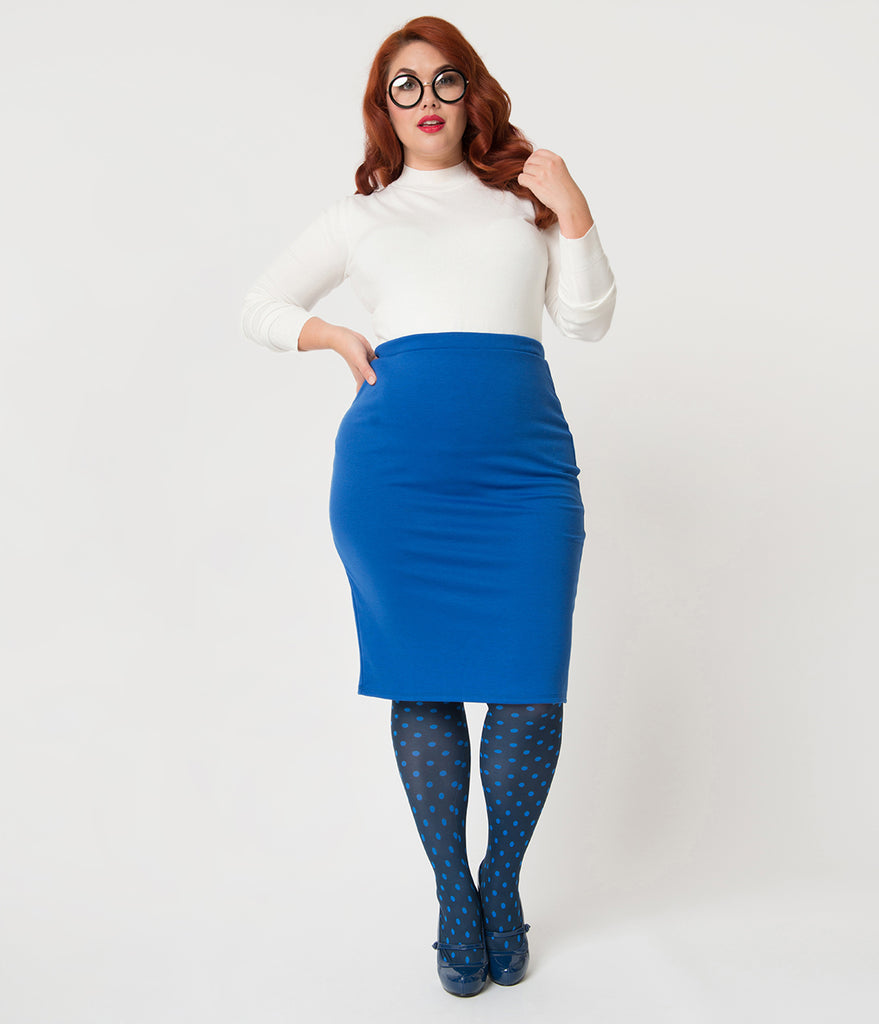 Plus Size Royal Blue Stretch Knit Pencil Skirt