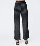 Black & White Polka Dot Crepe High Waist Pants