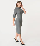 Unique Vintage 1960s Retro Grey Knit Half Sleeve Cassidy Wiggle Dress