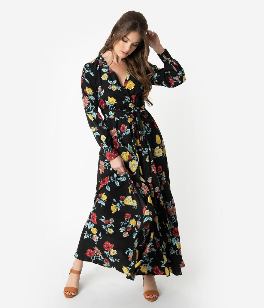 Unique Vintage Black & Multicolor Floral Long Sleeve Farrah Maxi Dress