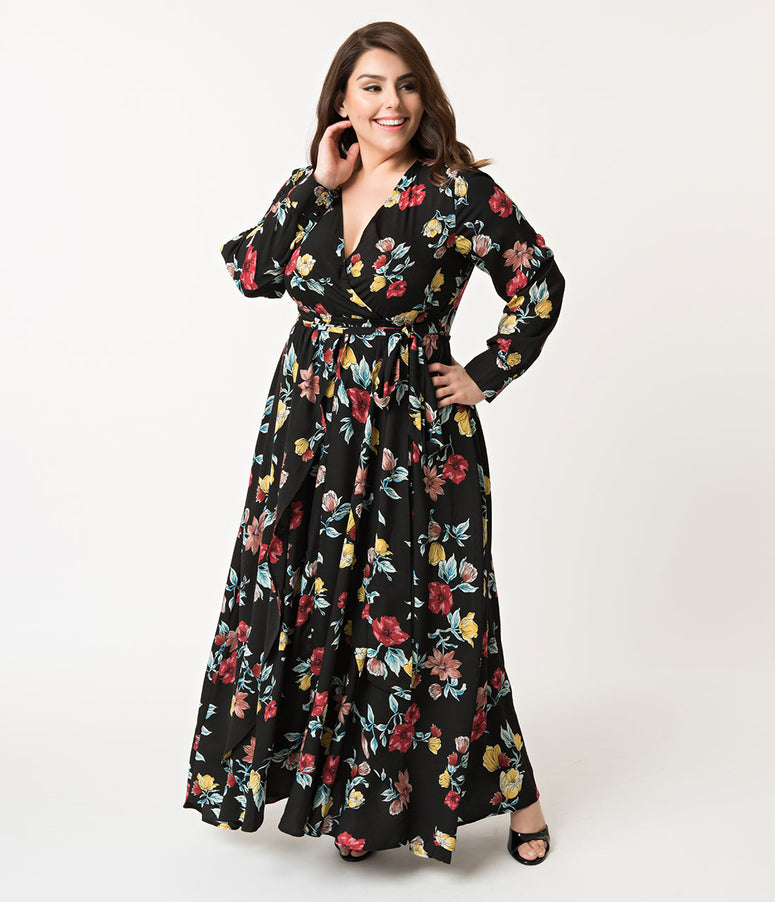 Unique Vintage Plus Size Black & Multicolor Floral Long Sleeve Farrah Maxi Dress