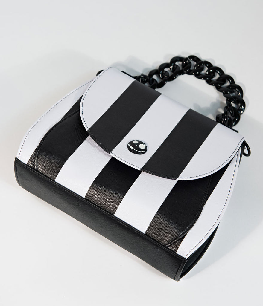 Loungefly Black & White Stripe Leatherette Nightmare Before ...