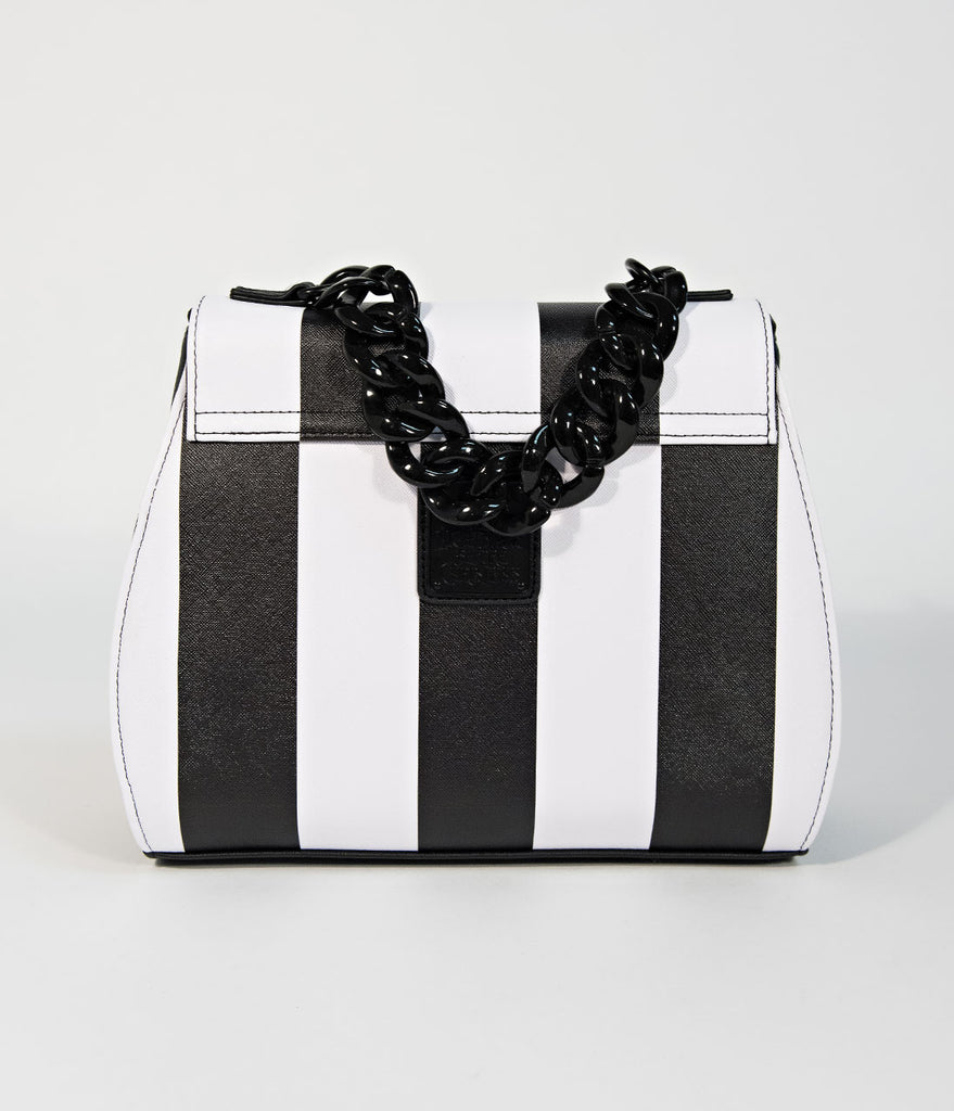 Loungefly Black & White Stripe Leatherette Nightmare Before Christmas Purse