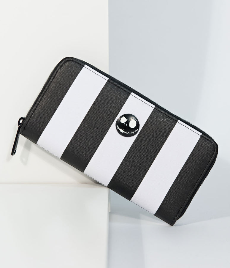 Loungefly Black & White Stripe Leatherette Nightmare Before Christmas Zipper Wallet