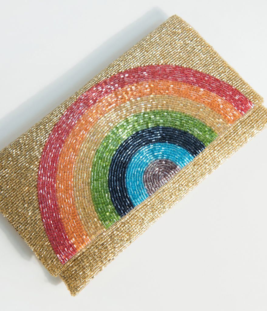 Golden Beaded Rainbow Clutch