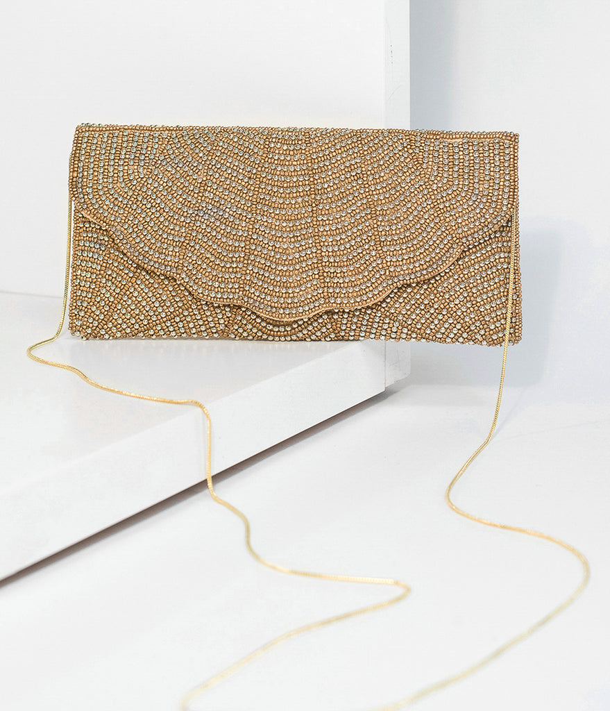 Gold & Silver Beaded Envelope Clutch