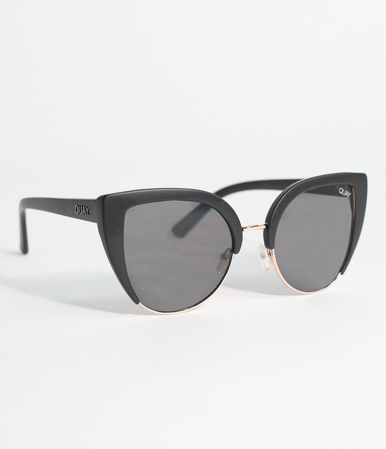 Quay Black Oh My Dayz Half Frame Cat Eye Sunglasses