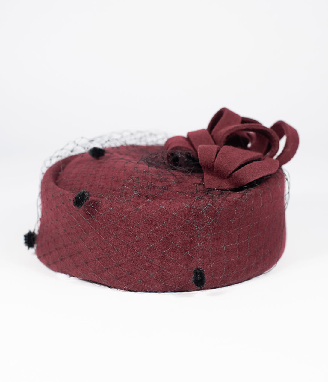 1950s Women's Hat Styles & History Unique Vintage Burgundy Red Wool Netted Pillbox Hat $47.00 AT vintagedancer.com