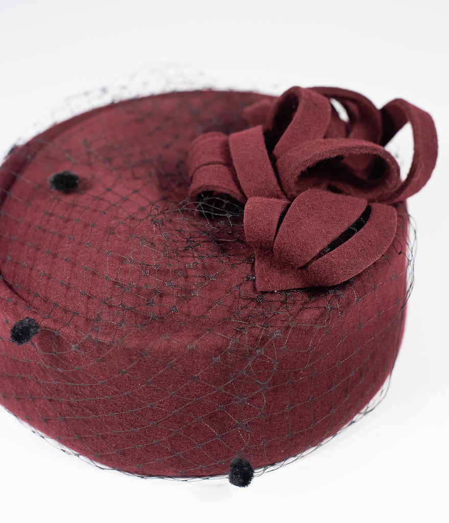 Unique Vintage Burgundy Red Wool Netted Pillbox Hat 1d1ff6b3a674