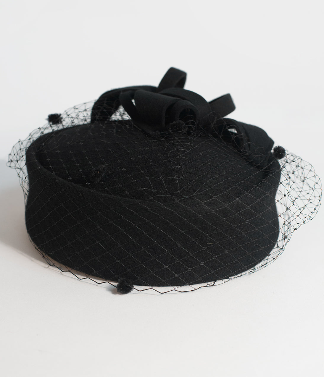 Ladies Tea Party Hats- Victorian to 1950s styles Unique Vintage Black Wool Netted Pillbox Hat $62.00 AT vintagedancer.com