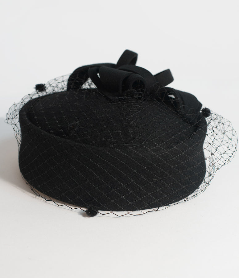 Unique Vintage Black Wool Netted Pillbox Hat