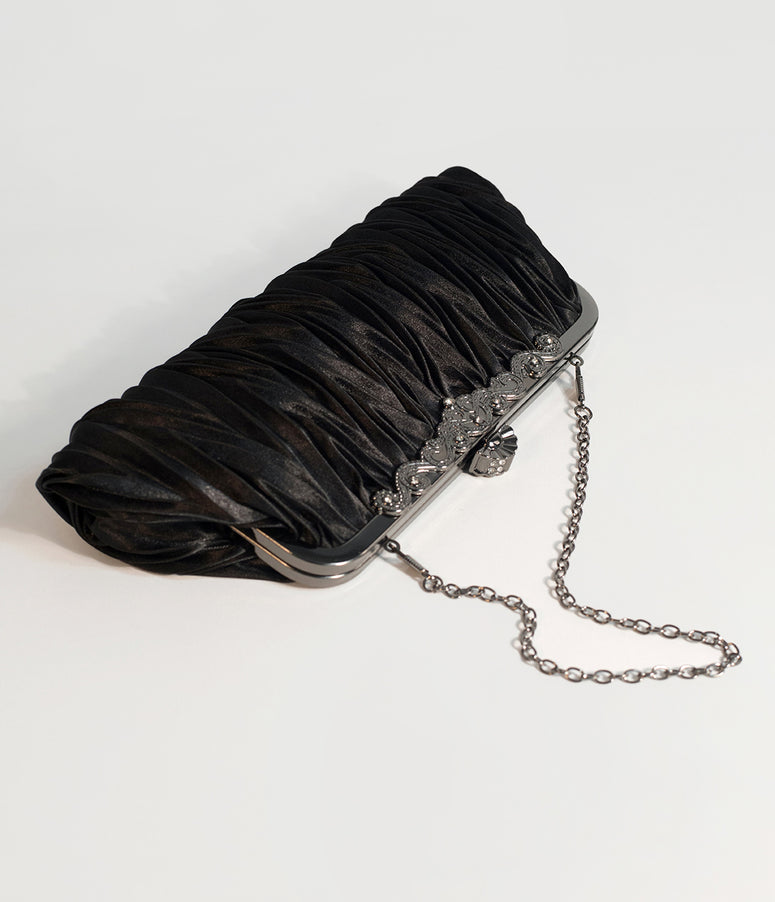 Unique Vintage Deco Style Black Satin Ruched Top Frame Clutch