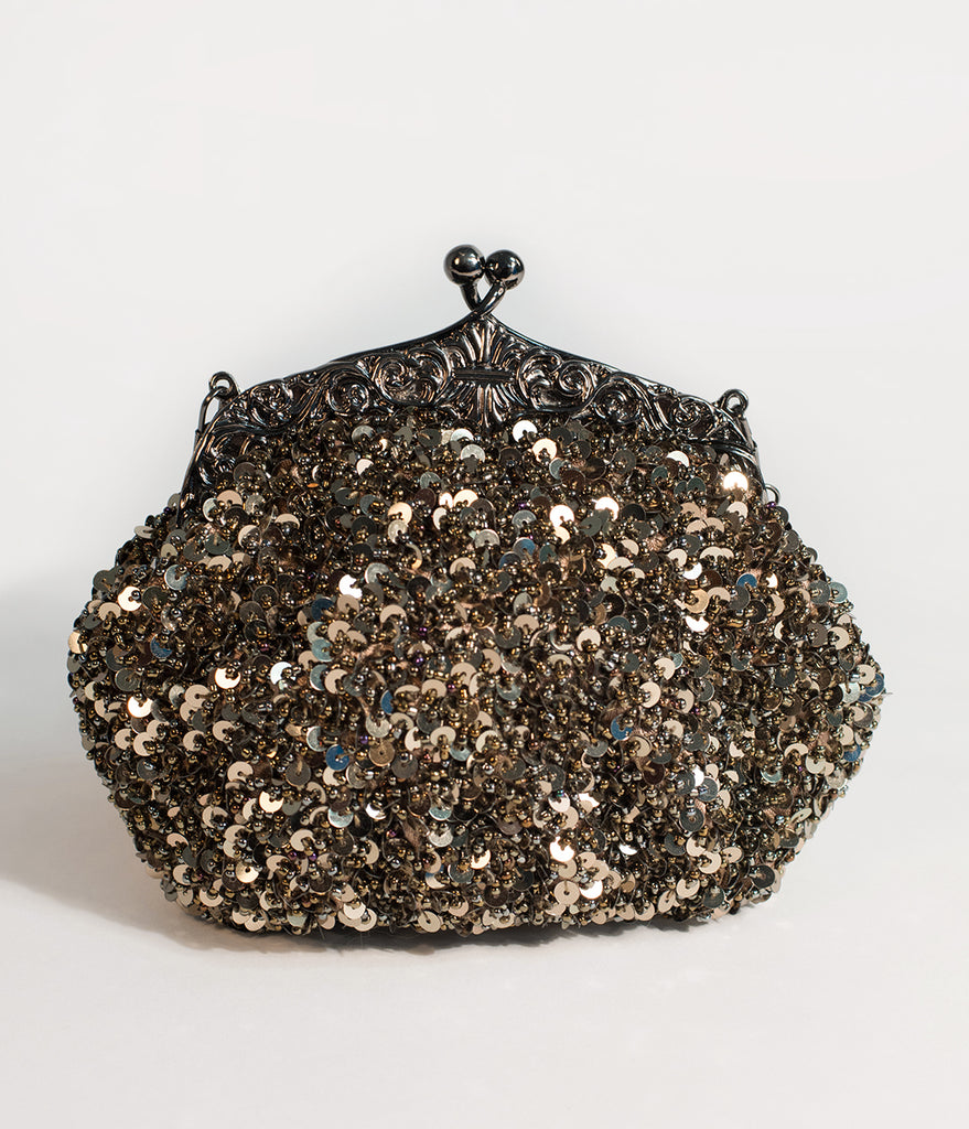 Unique Vintage Deco Style Black & Gold Sequin & Beaded Clutch
