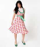 Ivory & Green Trim Watermelon Print Short Sleeve Crepe Flare Dress