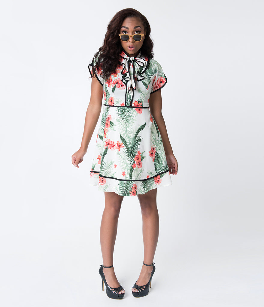 Ivory & Tropical Floral Beauty Bow Tie Flare Dress