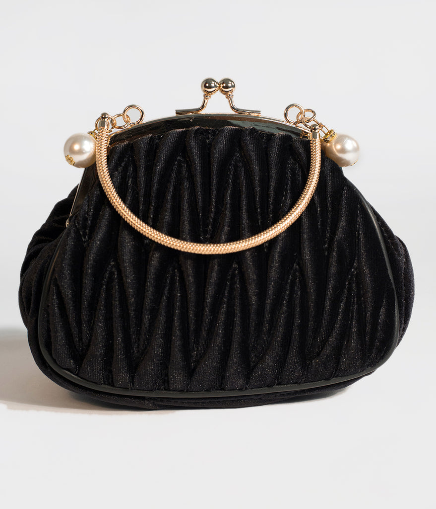 Unique Vintage Black Velvet Ruched Hard Case Clutch