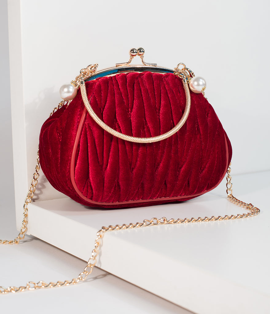 Unique Vintage Burgundy Red Velvet Ruched Hard Case Clutch