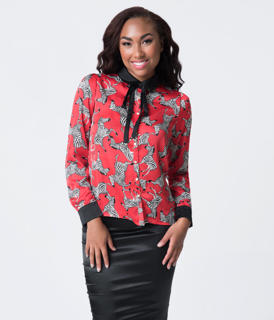 Retro Style Black & Red Zebra Print Long Sleeve Collared Satin Blouse