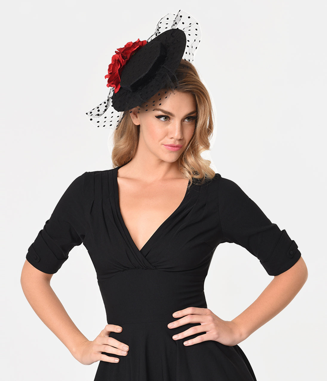 1950s Women's Hat Styles & History Unique Vintage Black Felt  Red Roses Netted Fascinator $34.00 AT vintagedancer.com