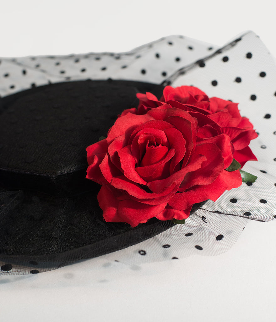 Unique Vintage Black Felt & Red Roses Netted Fascinator