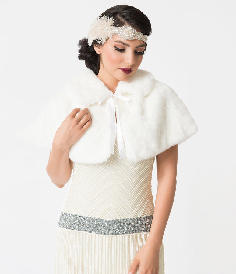 Unique Vintage Ivory Faux Fur Capelet