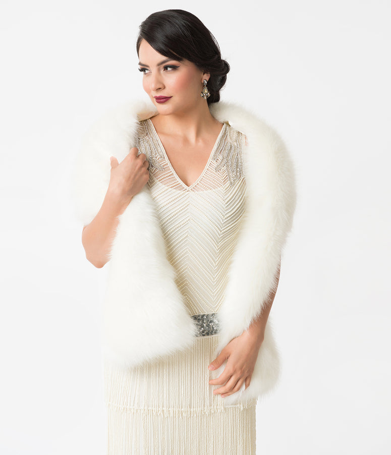 Unique Vintage White Ivory Faux Fur Stole