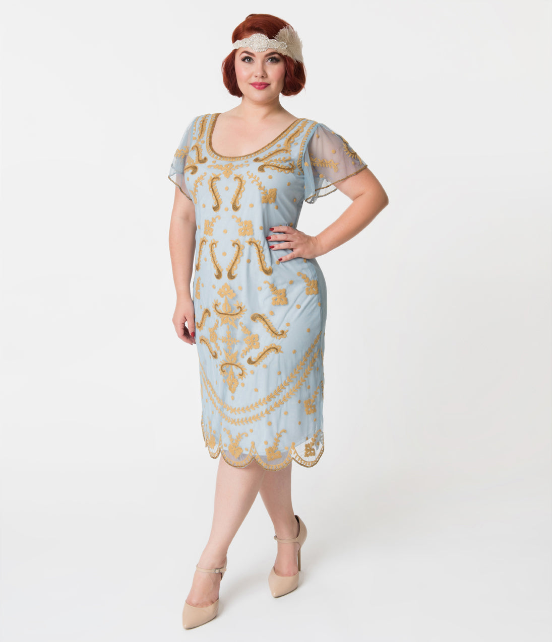 1920s Style Dresses, Flapper Dresses Vintage Style Plus Size Light Blue  Gold Embroidered Florence Flapper Dress $98.00 AT vintagedancer.com