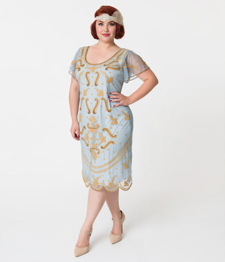 Vintage Style Plus Size Light Blue & Gold Embroidered Florence Flapper Dress