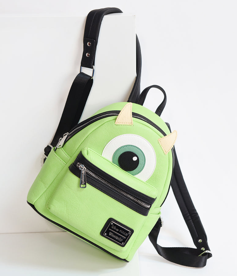 Loungefly Green Leatherette Mike Wazowski Disney Pixar Mini Backpack