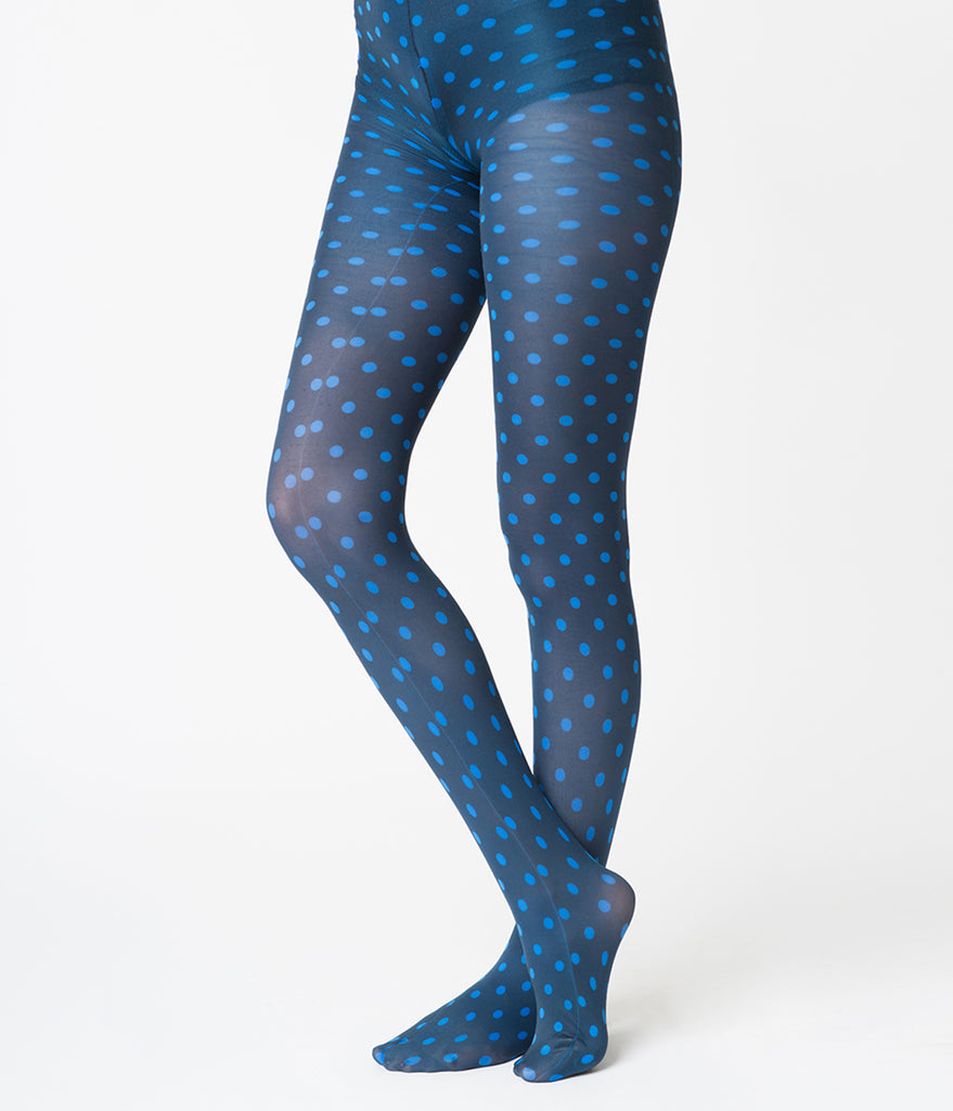 Retro Style Blue Polka Dot Tights
