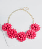 Hot Pink Beaded Crystal Flower Statement Necklace