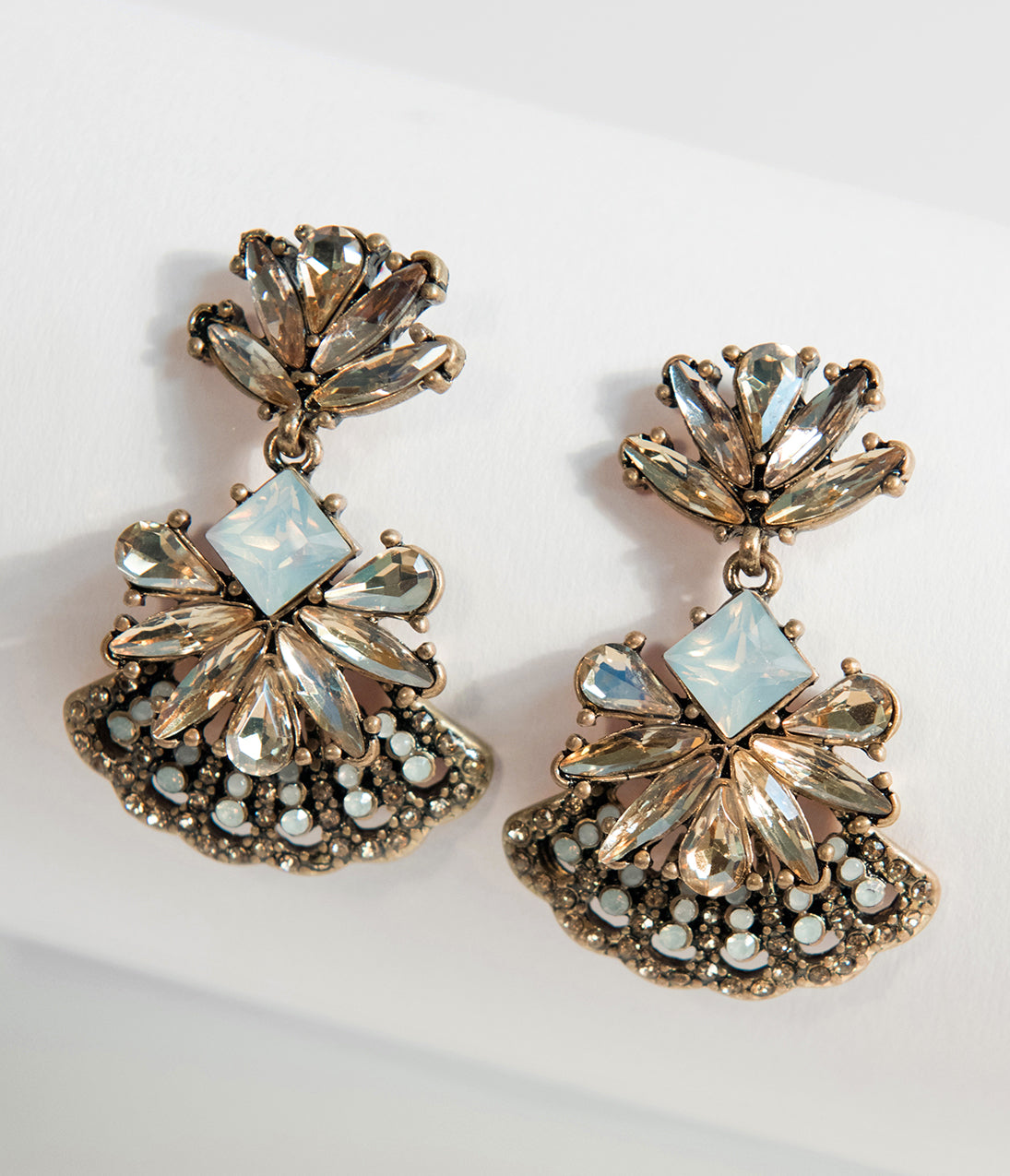 1920s Flapper Costume : How to Guide Antique Gold  Milky Gemstones Chandelier Statement Earrings $26.00 AT vintagedancer.com