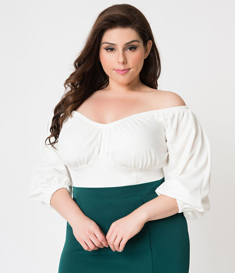 Micheline Pitt For Unique Vintage Plus Size White Off Shoulder Hissy Fit Top