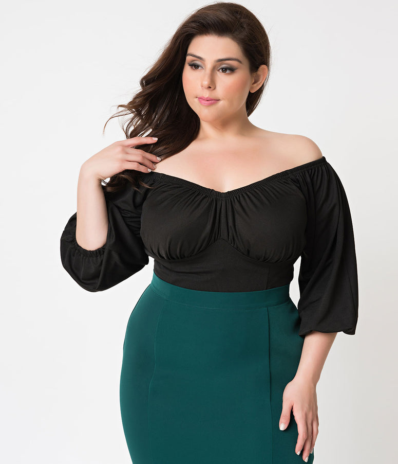 Micheline Pitt For Unique Vintage Plus Size Black Off Shoulder Hissy Fit Top