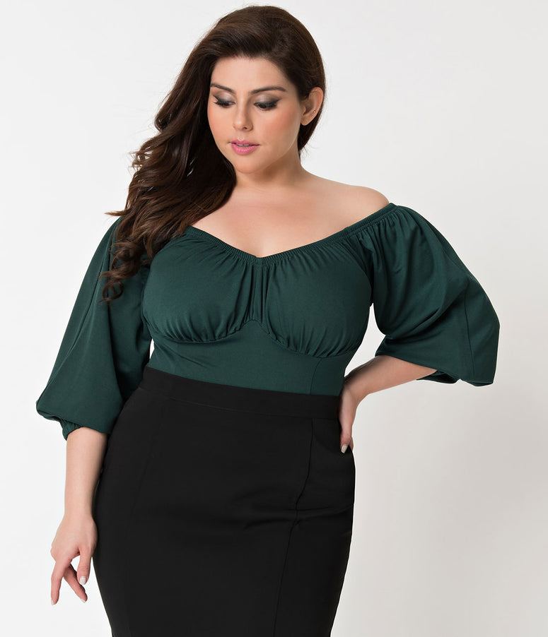 Micheline Pitt For Unique Vintage Plus Size Green Off Shoulder Hissy Fit Top