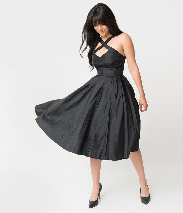 Unique Vintage 1950s Style Black Taffeta Cross Halter Joy Party Dress