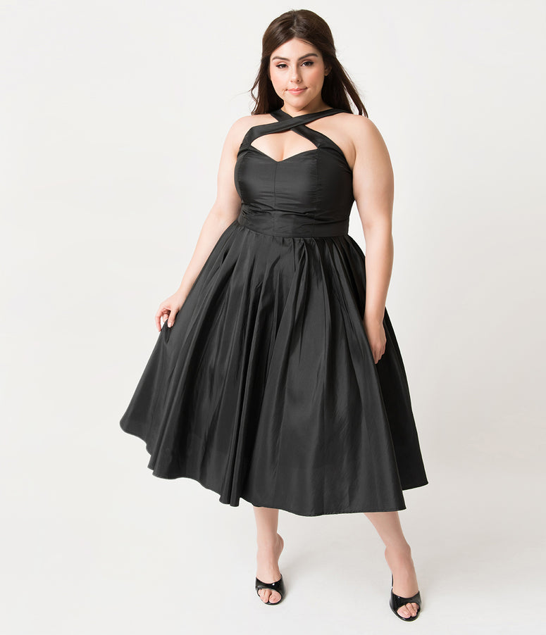 Unique Vintage Plus Size 1950s Black Taffeta Cross Halter Holiday Joy Party Dress