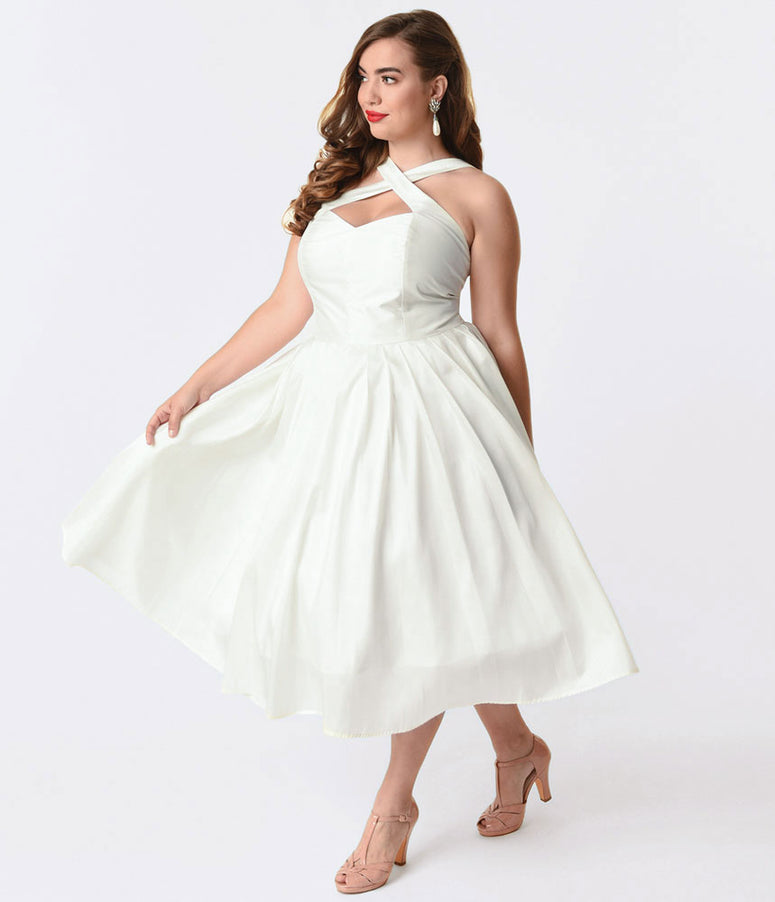 Unique Vintage Plus Size 1950s Style Ivory Taffeta Cross Halter Joy Party Dress