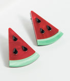 Red & Green Large Watermelon Earrings