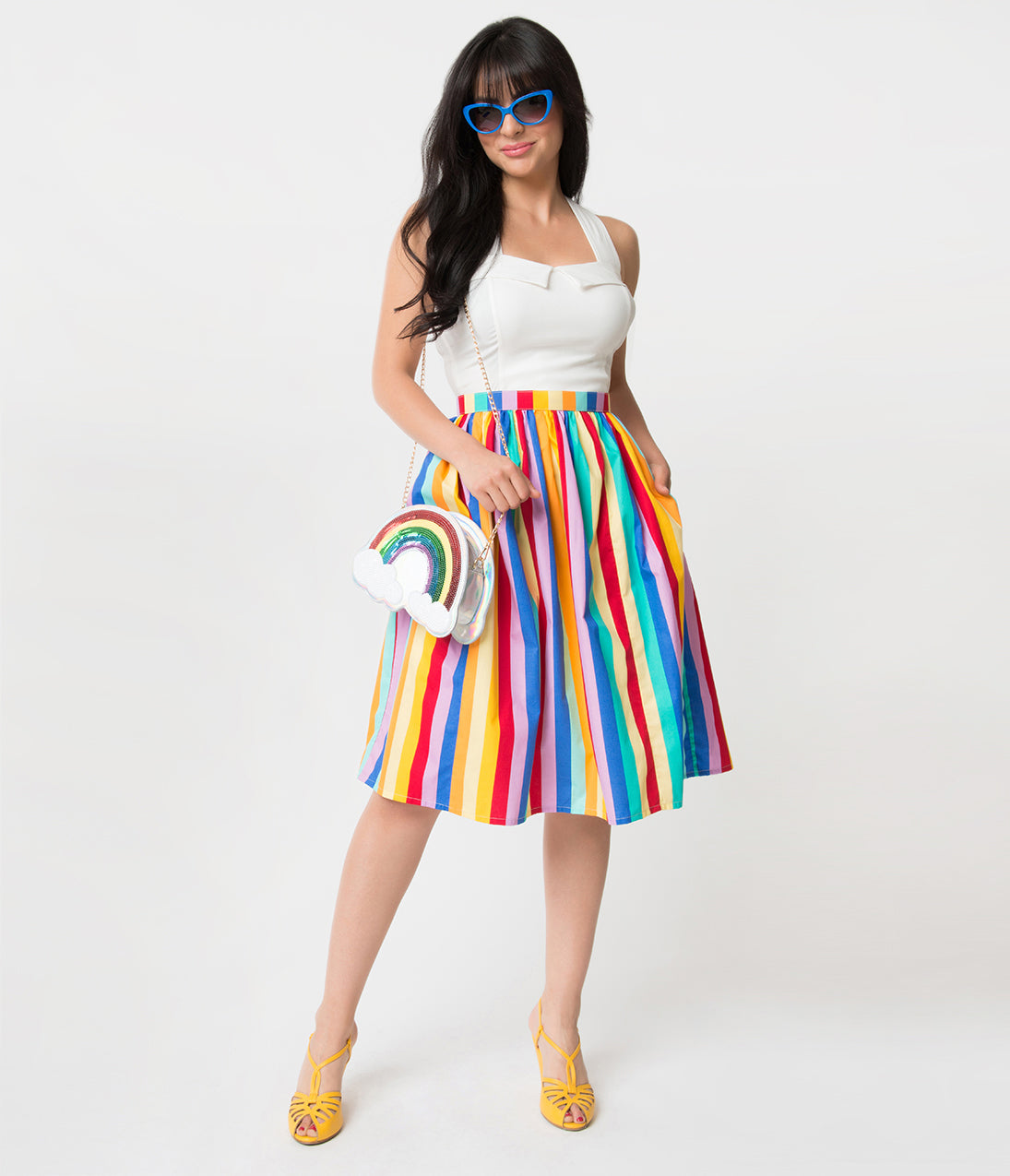1950s Swing Skirt, Poodle Skirt, Pencil Skirts Rainbow Striped Gathered Cotton Swing Skirt $58.00 AT vintagedancer.com