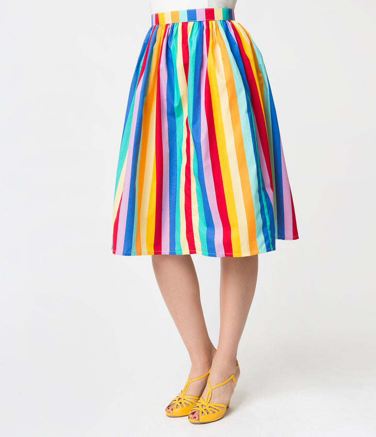 Rainbow Striped Gathered Cotton Swing Skirt