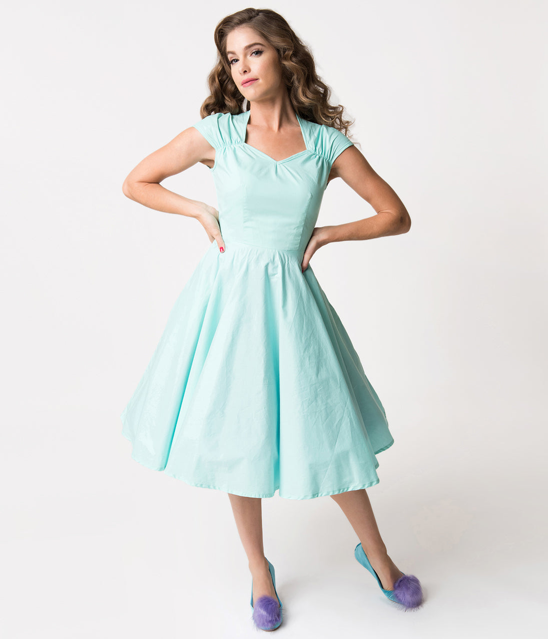 Pin Up Dresses | Pinup Clothing & Fashion 1950S Style Mint Blue Cotton Bowy Swing Dress $46.00 AT vintagedancer.com