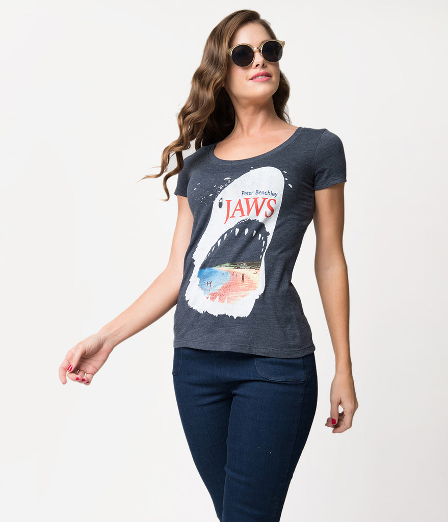 Vintage Style Grey Navy Jaws Cover Knit Tee