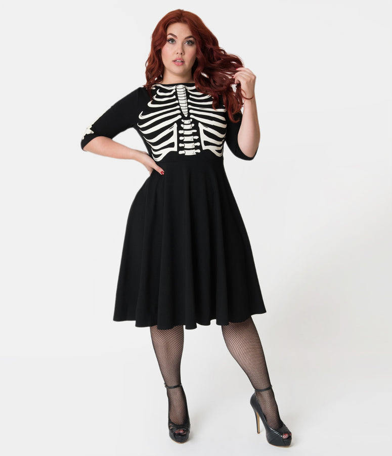 Unique Vintage Plus Size Black Skeleton Bones Graves Swing Dress