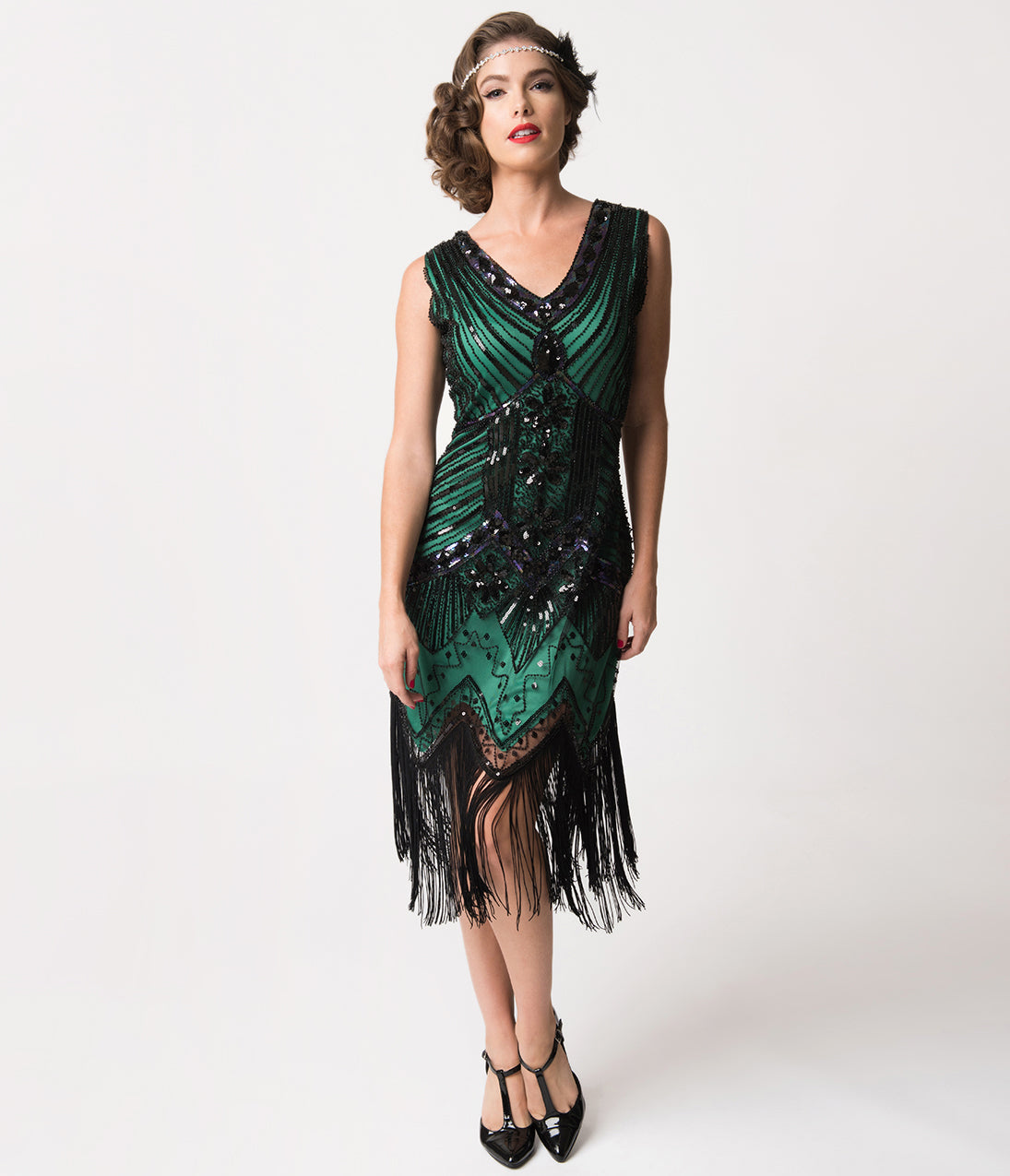 Best 1920s Prom Dresses – Great Gatsby Style Gowns Unique Vintage 1920S Deco Green  Black Sequin Veronique Fringe Flapper Dress $98.00 AT vintagedancer.com