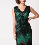 Unique Vintage 1920s Deco Green & Black Sequin Veronique Fringe Flapper Dress