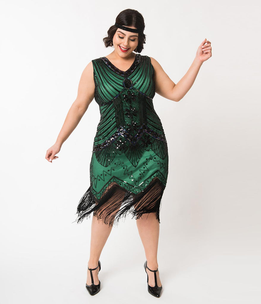 Unique Vintage Plus Size 1920s Deco Green & Black Sequin Veronique Fringe  Flapper Dress