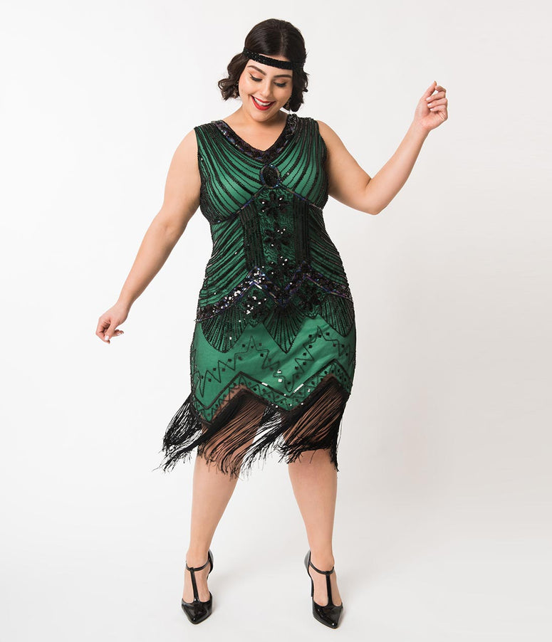 c7751fe16c5 Unique Vintage Plus Size 1920s Deco Green   Black Sequin Veronique Fringe  Flapper Dress