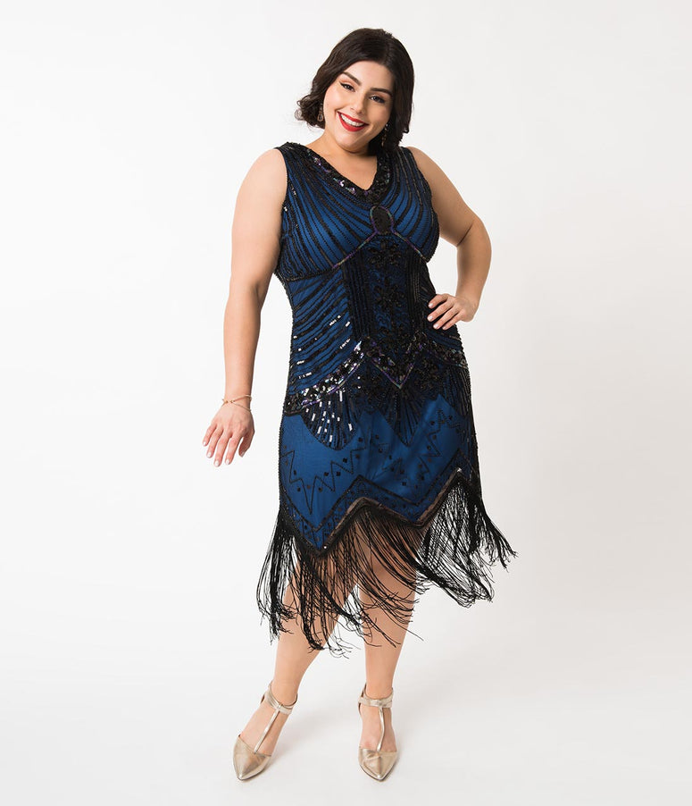 Unique Vintage Plus Size 1920s Deco Navy Blue & Black Sequin Veronique Fringe Flapper Dress