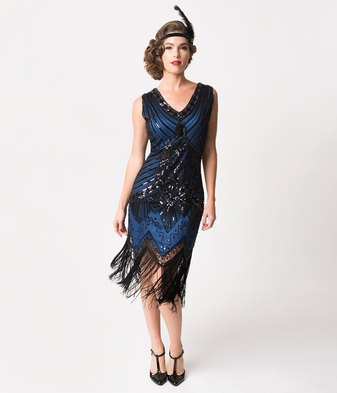 1920s Evening Dresses & Formal Gowns Unique Vintage 1920S Deco Navy Blue  Black Sequin Veronique Fringe Flapper Dress $98.00 AT vintagedancer.com